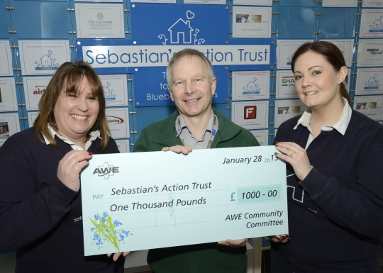 Feature image for AWE presents £1,000 to Sebastian's Action Trust